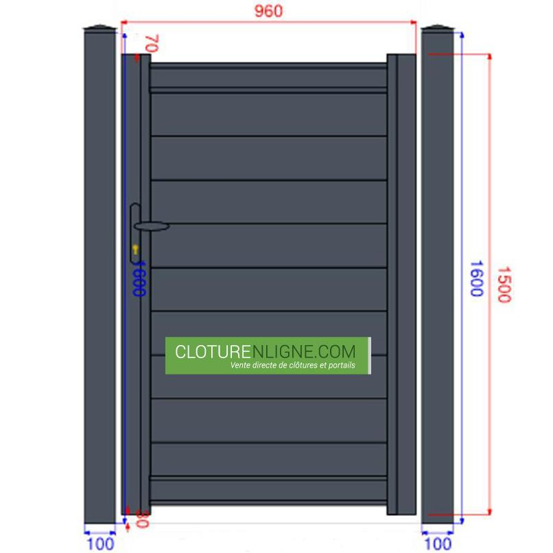 Portillon alu plein lames horizontales 1m x 1m50 for Dimension portillon