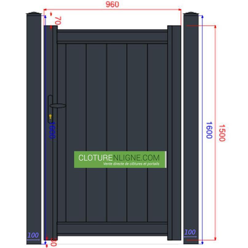 Portillon alu plein lames verticales 1m x 1m50 portails for Portillon largeur 1m50