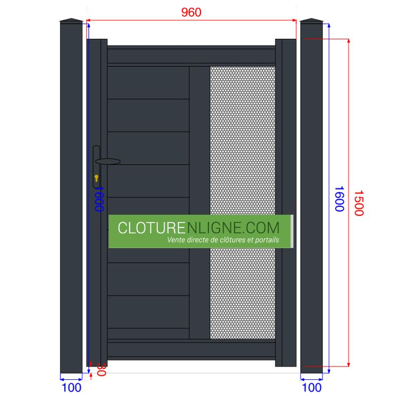 Portillon alu lames horizontales tole perforee 1m x 1m50 for Portillon 1 m