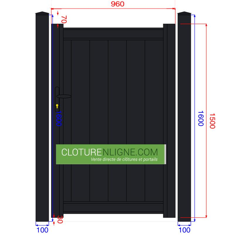 Portillon alu plein lames verticales 1m x 1m50 portails for Portillon 1m50 de large